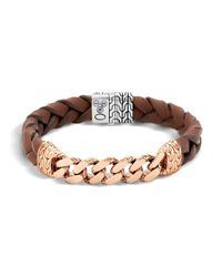 John Hardy | Metallic Men's Classic Chain Gourmette Bronze & Sterling Silver Bracelet On Braided Brown Leather Cord for Men | Lyst