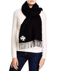Tory Burch - Black Whipstitch Signature T Scarf - Lyst