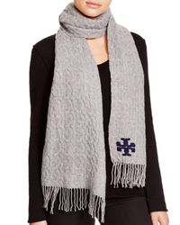Tory Burch | Gray Whipstitch Signature T Scarf | Lyst