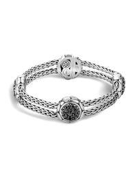 John Hardy | Metallic Kali Sterling Silver Pure Lava Fire Four Station Bracelet With Black Sapphire | Lyst