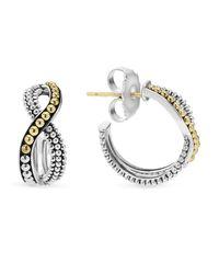 Lagos | Metallic Sterling Silver Hoop Earrings With 18k Gold Caviar Beading | Lyst