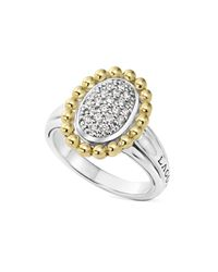 Lagos Metallic Sterling Silver And 18k Gold Oval Diamond Ring With Caviar Beading