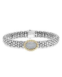 Lagos | Metallic Oval Diamond Station Sterling Silver Caviar Bracelet With 18k Gold | Lyst