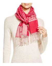 Ferragamo | Pink Cashmere Logo Scarf | Lyst
