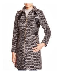 Via Spiga | Brown Popcorn-stitch Coat With Faux Leather Trim | Lyst