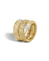 John Hardy | Metallic Classic Chain 18k Gold Diamond Pave Double Coil Ring | Lyst