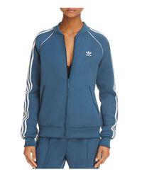 Adidas Originals Blue Stripe-detail Track Jacket