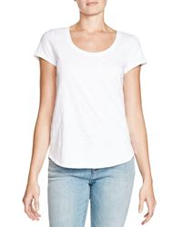 Eileen Fisher | White Organic Cotton Scoop Neck Tee | Lyst