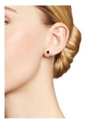 Zoe Chicco - Metallic 14k Yellow Gold And Bezel-set Black Diamond Stud Earrings With Pave Diamond Bar - Lyst