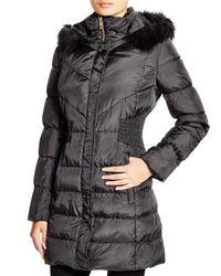 Via Spiga | Black Faux Fur Trim Hooded Puffer Jacket | Lyst