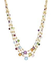 """Marco Bicego   Multicolor 18k Yellow Gold Paradise Three Strand Mixed Stone Necklace, 16.5""""   Lyst"""