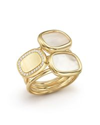 Roberto Coin - Metallic 18k Yellow Gold Ring With Mother-of-pearl And Diamonds - Lyst