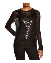 MICHAEL Michael Kors Black Sequined Open Knit Sweater