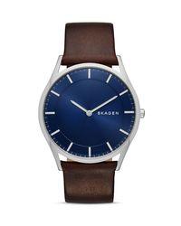 Skagen | Blue Slim Holst Leather Strap Watch, 40mm for Men | Lyst
