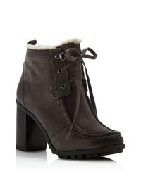 Sam Edelman | Gray Madge Faux Fur Lace Up High Heel Booties | Lyst