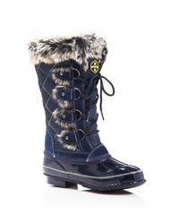 Khombu | Blue Jandice Faux-fur Lace Up Cold Weather Boots | Lyst
