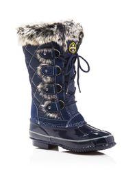Khombu | Blue Jandice Faux-fur Lace Up Cold Weather Boots | Lyst