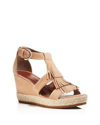 Bernardo | Brown Kaya Fringe Wedge Sandals | Lyst