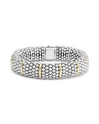 Lagos | Metallic Sterling Silver Signature Caviar Bracelet With 18k Yellow Gold Stations | Lyst