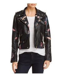 Blank NYC - Black Floral-inset Faux Leather Moto Jacket - Lyst