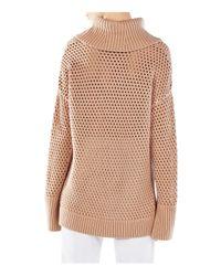 BCBGMAXAZRIA - Natural Bethenny Funnel Neck Mesh Sweater - Lyst