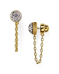 Marc By Marc Jacobs | Metallic Pave Cabochon Jacket Chain Stud Earrings | Lyst