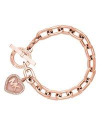 Michael Kors | Pink Heart Toggle Bracelet | Lyst