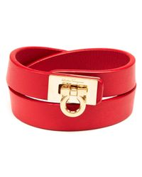 Ferragamo   Red Leather Gancini Double Wrap Bracelet   Lyst