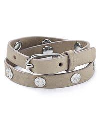 Tory Burch | Gray Double Wrap Logo Stud Bracelet | Lyst