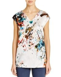 Lafayette 148 New York | Multicolor Joanie Abstract Print Silk Top | Lyst