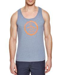 722f76792a0dc Lyst - Original Penguin Circle Logo Slim Fit Tank Top in Blue for Men
