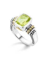 Lagos | 18k Gold And Sterling Silver Caviar Color Small Ring With Green Quartz | Lyst