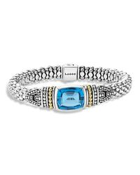 Lagos | 18k Gold And Sterling Silver Caviar Color Bracelet With Swiss Blue Topaz | Lyst
