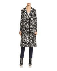 Tory Burch - Black Rosalie Floral Merino Wool Sweater Coat - Lyst
