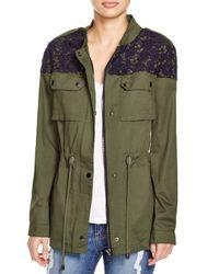 Aqua Green Lace Trim Army Jacket
