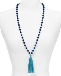 "BaubleBar   Blue Bali Tassel Necklace, 32""   Lyst"