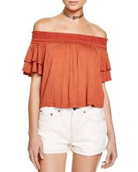 Free People - Red Santorini Off-the-shoulder Top - Lyst