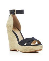 Vince Camuto Black Maurita Denim Espadrille Wedge Sandals