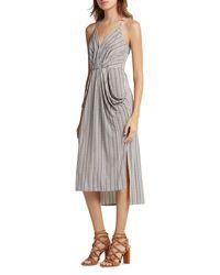 BCBGeneration - Gray Striped Midi Dress - Lyst