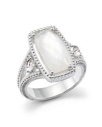 Judith Ripka | Metallic Sterling Silver 3-stone Harmony Ring With Mother-of-pearl And Rock Crystal Quartz Doublet | Lyst
