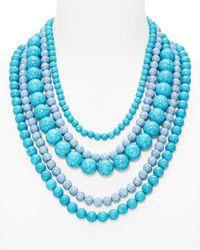 "BaubleBar   Blue Globe Strands Layered Necklace, 18""   Lyst"