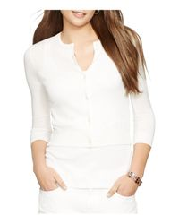 Pink Pony - White Lauren Cropped Knitted Cardigan - Lyst