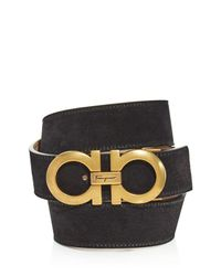 Ferragamo - Black Gancini Leather Belt for Men - Lyst