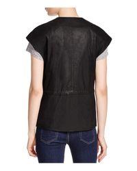 Vince Black Cap-sleeve Leather Jacket