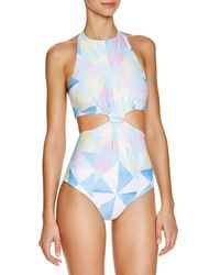 Mara Hoffman - White Fractals Printed Cutout One Piece Swimsuit - Lyst