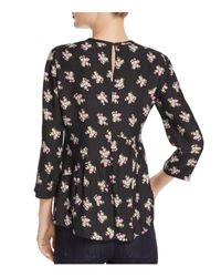 Rebecca Taylor - Black Mini Rosa Floral Print Silk Peplum Top - Lyst