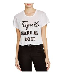 Wildfox - White Tequila Made Me Crop Tee - Lyst