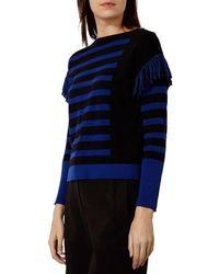 Karen Millen - Black Fringe Detail Sweater - Lyst