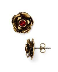 Marc Jacobs | Metallic Crystal Flower Stud Earrings | Lyst