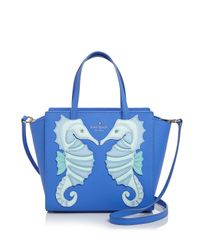 kate spade new york - Blue Small Hayden Seahorse Satchel - Lyst